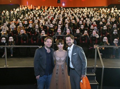 MEXICO CITY – November 22: Gareth Edwards, Felicity Jones & Diego Luna with fans at the Fan Event Q&A in Mexico City.