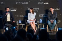 MEXICO CITY – November 22: Diego Luna (Captain Cassian Andor), Felicity Jones (Jyn Erso) and Gareth Edwards (Director) at the press conference of ROGUE ONE: A STAR WARS STORY press tour at the St. Regis Hotel, Mexico City.