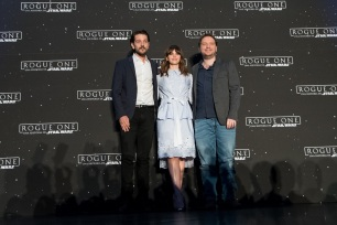 MEXICO CITY – November 22: Diego Luna, Felicity Jones & Gareth Edwards photocall on ROGUE ONE: A STAR WARS STORY press tour at the St. Regis Hotel, Mexico City.