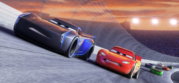 """NEXT GEN TAKES THE LEAD — Jackson Storm (voice of Armie Hammer), a frontrunner in the next generation of racers, posts speeds that even Lightning McQueen (voice of Owen Wilson) hasn't seen. """"Cars 3"""" is in theaters June 16, 2017. ©2016 Disney•Pixar. All Rights Reserved."""