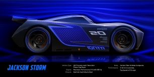 CARS 3..Jackson Storm (voice of Armie Hammer)..Jackson Storm is fast, sleek and ready to race. A frontrunner in the next generation of racers, Storm's quiet confidence and cocky demeanor are off putting—but his unmatched speed threatens to redefine the sport. Trained on high tech simulators that are programmed to perfect technique and maximize velocity, Jackson Storm is literally built to be unbeatable—and he knows it...©2016 Disney•Pixar. All Rights Reserved.