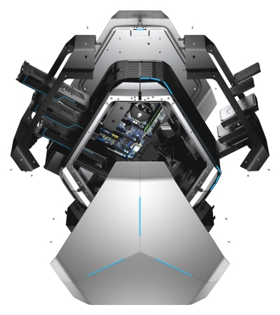 Dell Alienware Area 51 R3 gaming desktop, codename Centauri X. Image shown with exterior panels removed to show internal components.